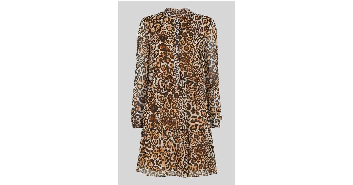 fd36a881879fc Whistles Animal Print Shirt Dress in Brown - Lyst