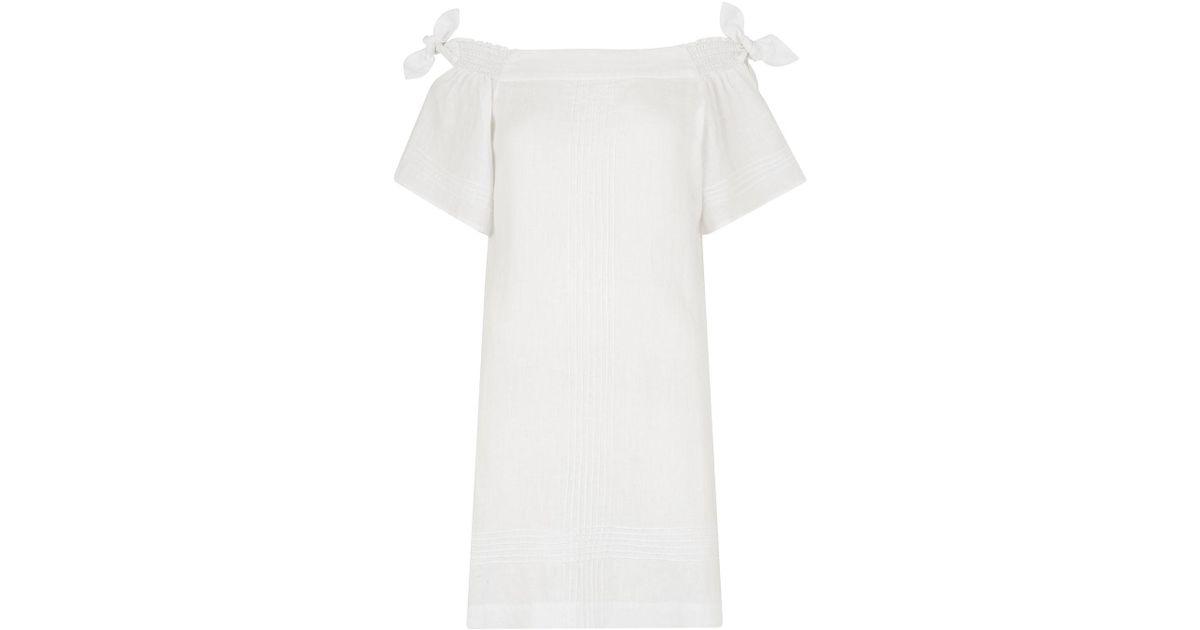 55b6f6e439 Lyst - Whistles Lila Tie Linen Bardot Dress in White