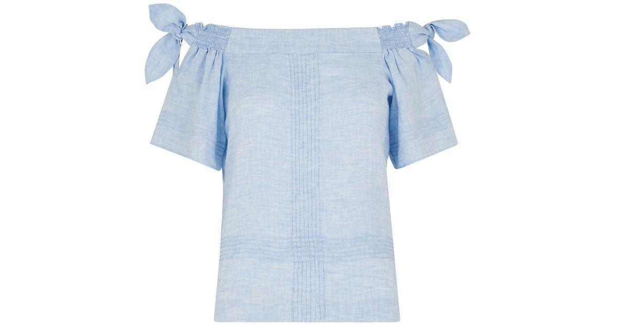 ca72fd72cd Whistles Lila Tie Linen Bardot Top in Blue - Lyst