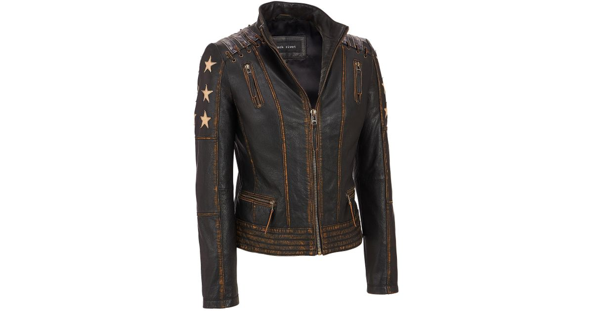 e6f3a1105f8d7 Lyst - Wilsons Leather Plus Size Black Rivet Distressed Stars And Stripes  Center Zip Leather Jacket in Black