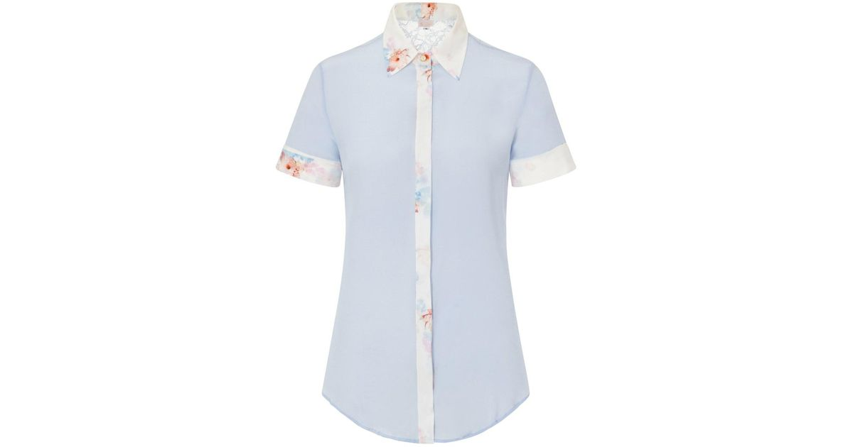e7b550570cc571 Sophie Cameron Davies Sky Blue Classic Silk Shirt in Blue - Lyst