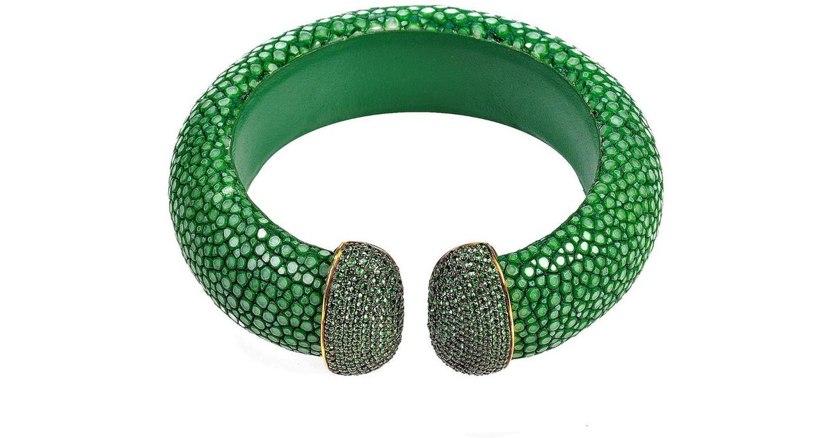 Latelita London Stingray Cuff Gold Jade Green NzTR1jiJ