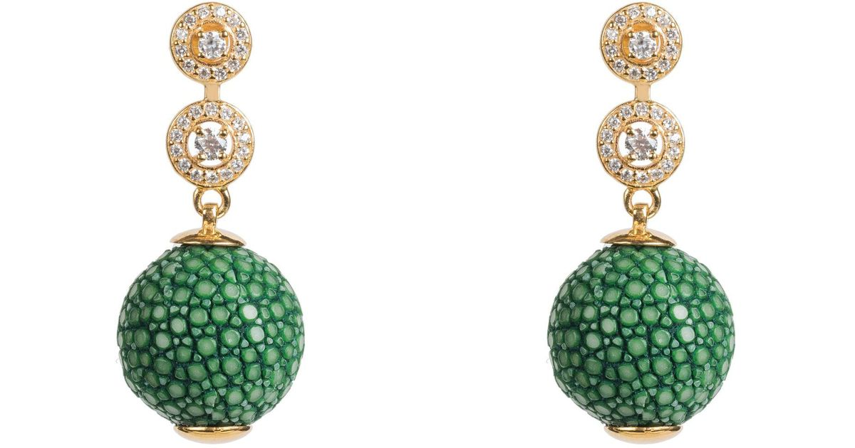 Latelita London Stingray Ball Earring Kiwi Green k17PkG7