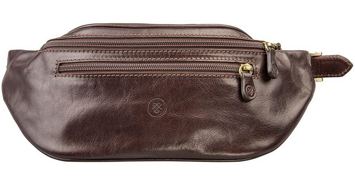 42dd8497ef Maxwell Scott Bags Dark Brown Italian Leather Bum Bag Centolla in Brown -  Lyst