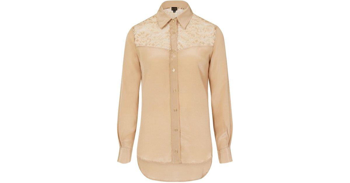9e4c84565336b5 Sophie Cameron Davies Beige Classic Silk Shirt in Natural - Lyst