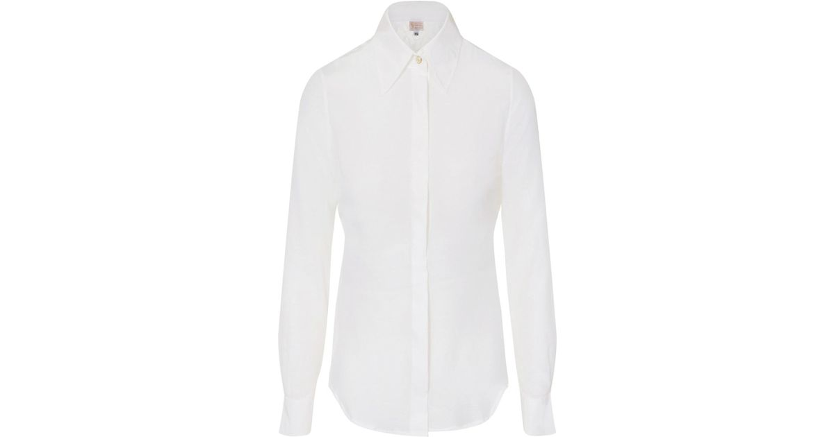 cdafe87d1c9280 Lyst - Sophie Cameron Davies White Fitted Silk Shirt in White