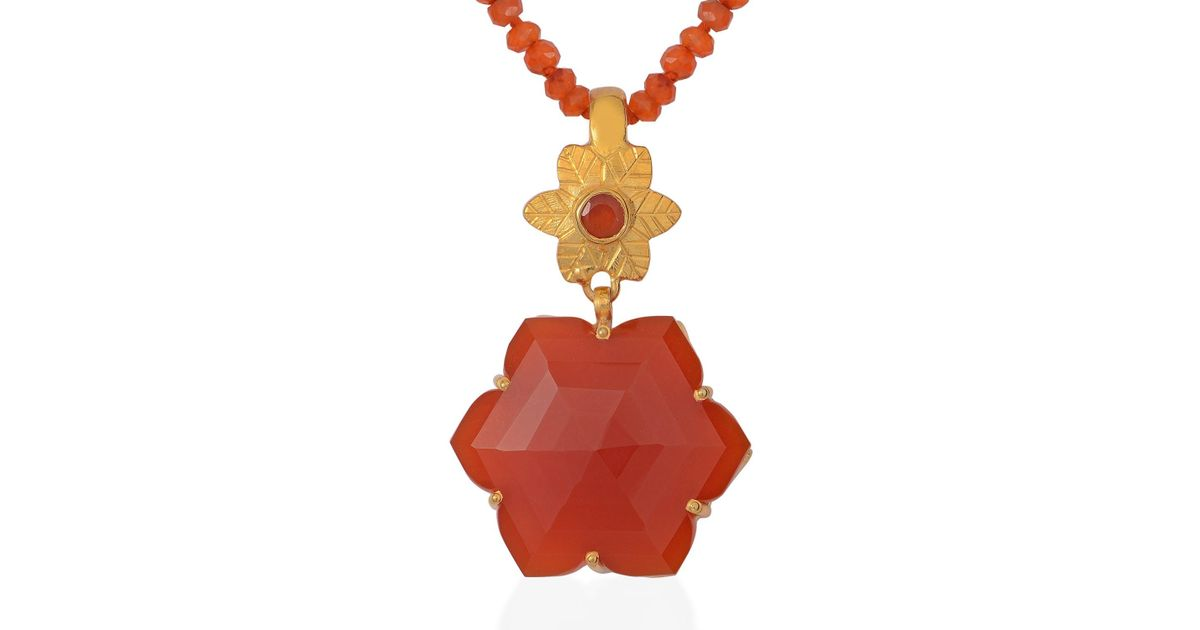 Lyst emma chapman jewels sylvie carnelian pendant in red aloadofball Choice Image
