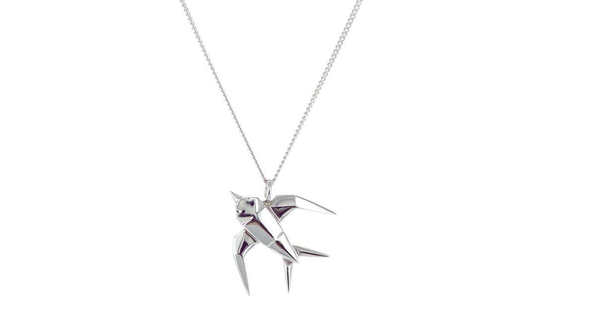 Origami Jewellery Black Silver Mini Swallow Origami Necklace Qc5N0