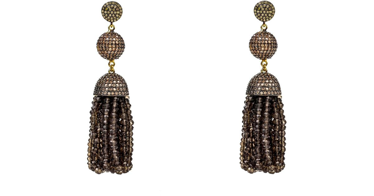 Latelita London Tassel Ball Smoky Quartz Earrings jAPT8IF