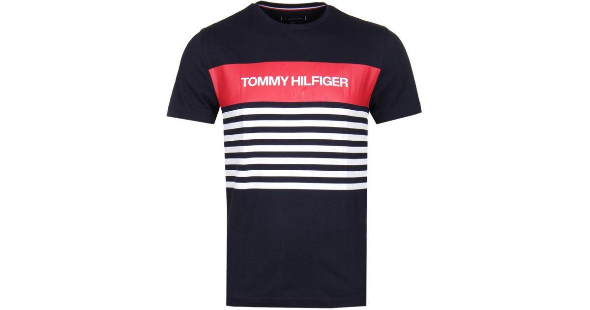 2ebd879e52 Lyst - Tommy Hilfiger Wcc Colour Block Stripe Navy T-shirt in Blue for Men