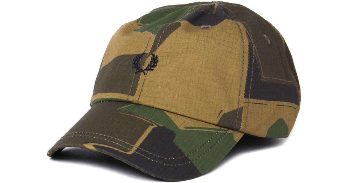 b8024efa4 Fred Perry Arktis Woodland Camo Cap in Green for Men - Lyst