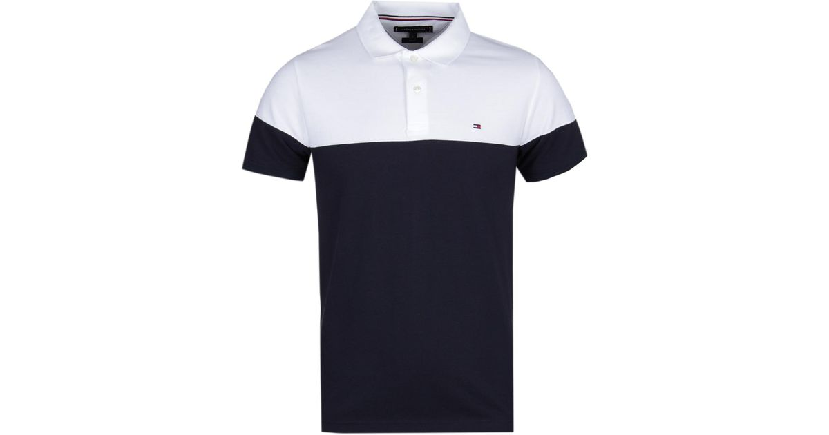 66c304f4f45c Lyst - Tommy Hilfiger Pieced Colour Block White & Navy Slim Fit Polo Shirt  in White for Men