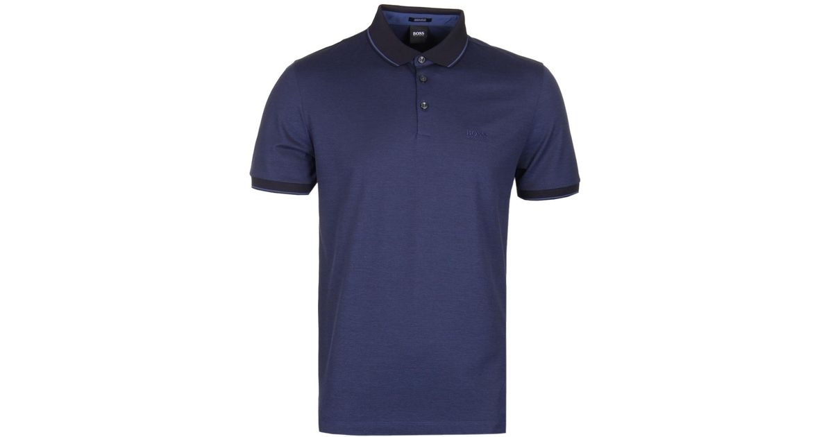 f1eb33368 BOSS by Hugo Boss Boss Prout 10 Blue Mercerised Cotton Polo Shirt in Blue  for Men - Lyst