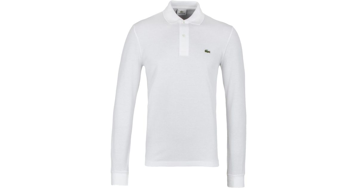 88d2014f8934 Lyst - Lacoste L1312 White Classic Fit Long Sleeved Pique Polo Shirt in  White for Men
