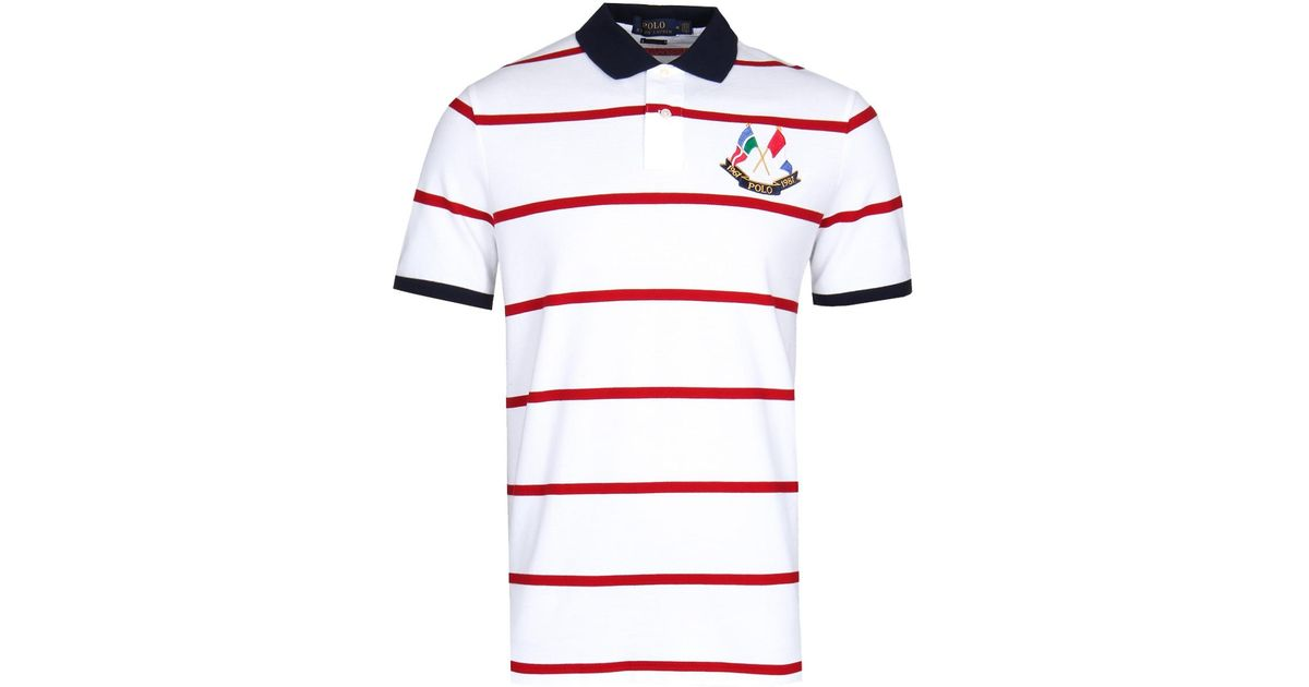b508b9766 Polo Ralph Lauren Red   White Stripe Cross Flags Polo Shirt in Red for Men  - Lyst