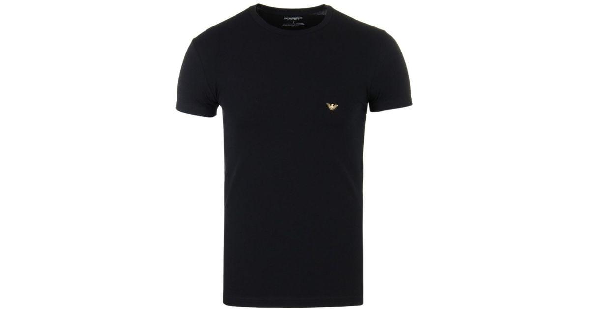 833ec578c Emporio Armani Black Foil Logo Slim Fit Underwear T-shirt in Black for Men  - Lyst