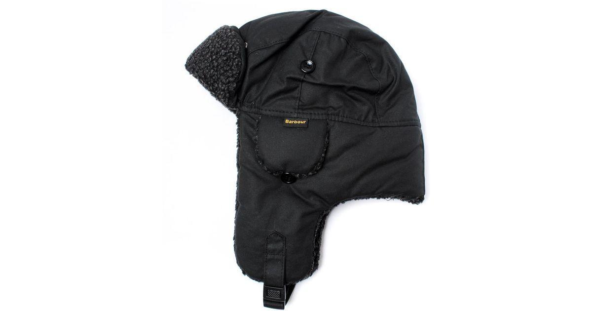 907a03552c2 Lyst - Barbour Black Fleece Lined Trapper Hat in Black for Men