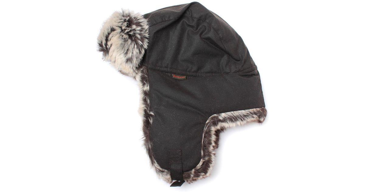 4ac9258007d Lyst - Barbour Hardwick Olive Green Fur Trim Trapper Hat in Green for Men