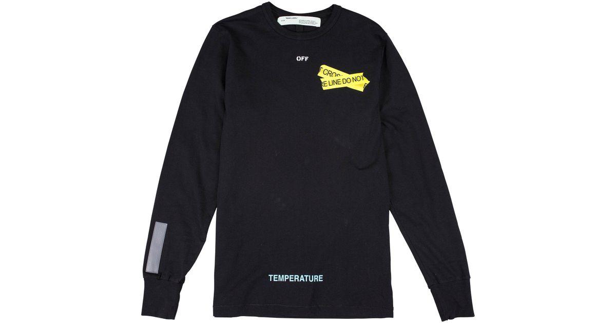 85d3c1106c3 Off-White c o Virgil Abloh Fire Tape Long Sleeve T-shirt in Black for Men -  Lyst