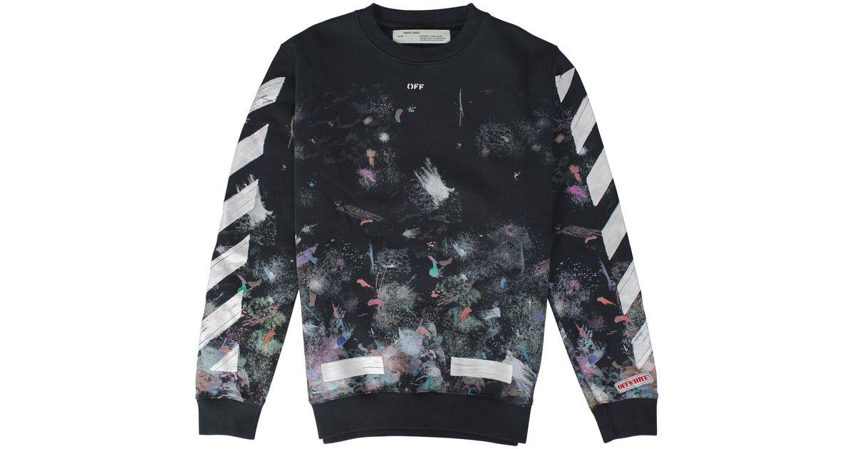 Lyst - Off-White c o Virgil Abloh Diagonal Galaxy Brushed Crewneck in Black  for Men eb64d9b7b061