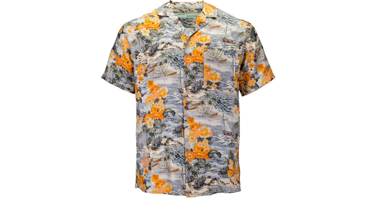 651873e7 Off-White c/o Virgil Abloh Silk Hawaiian Shirt in Orange for Men - Lyst