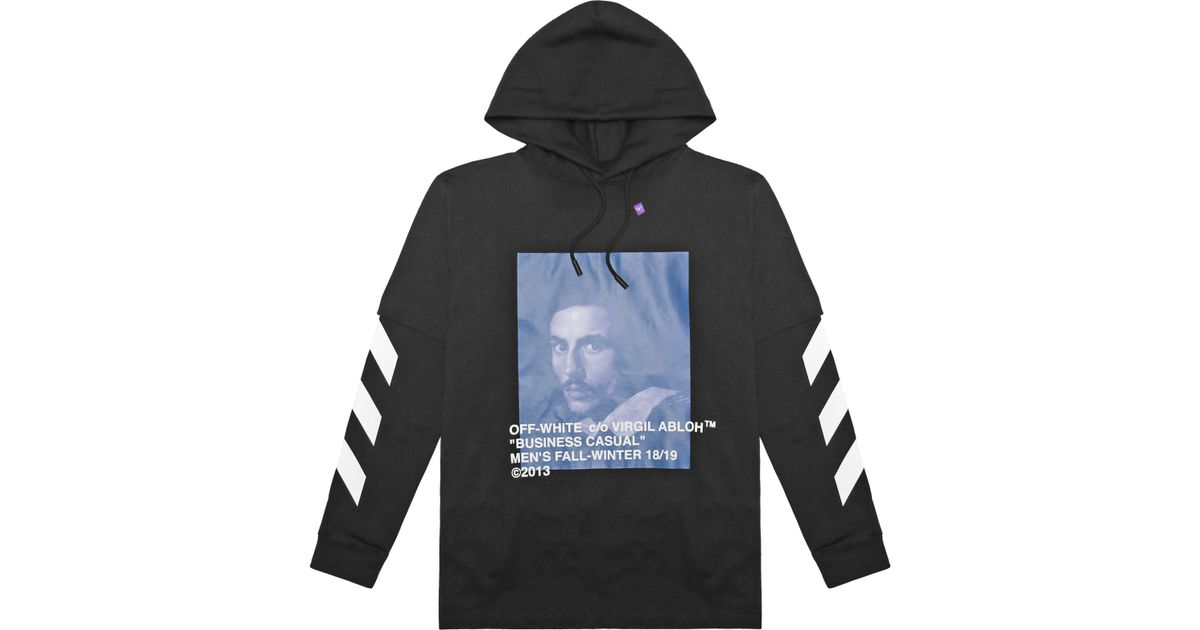1acbd1dc Off-White c/o Virgil Abloh Diag Bernini Long Sleeve T-shirt With Hoodie in  Black for Men - Lyst