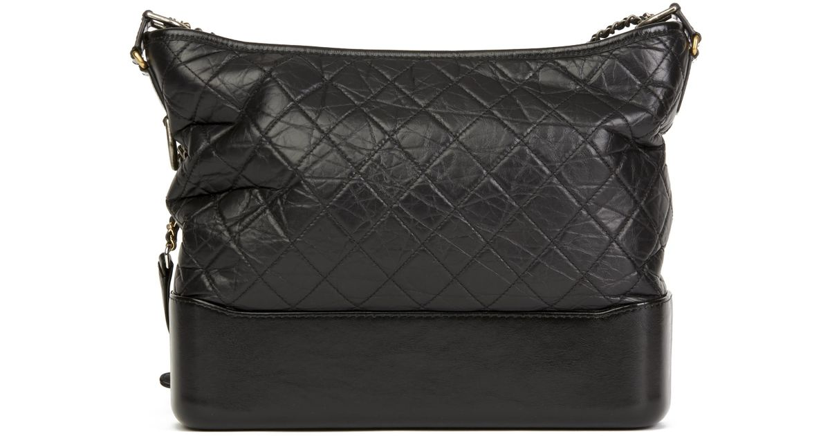 d5d03ebd283f Chanel Black Quilted Aged Calfskin Leather Large Gabrielle Hobo Bag in Black  - Lyst