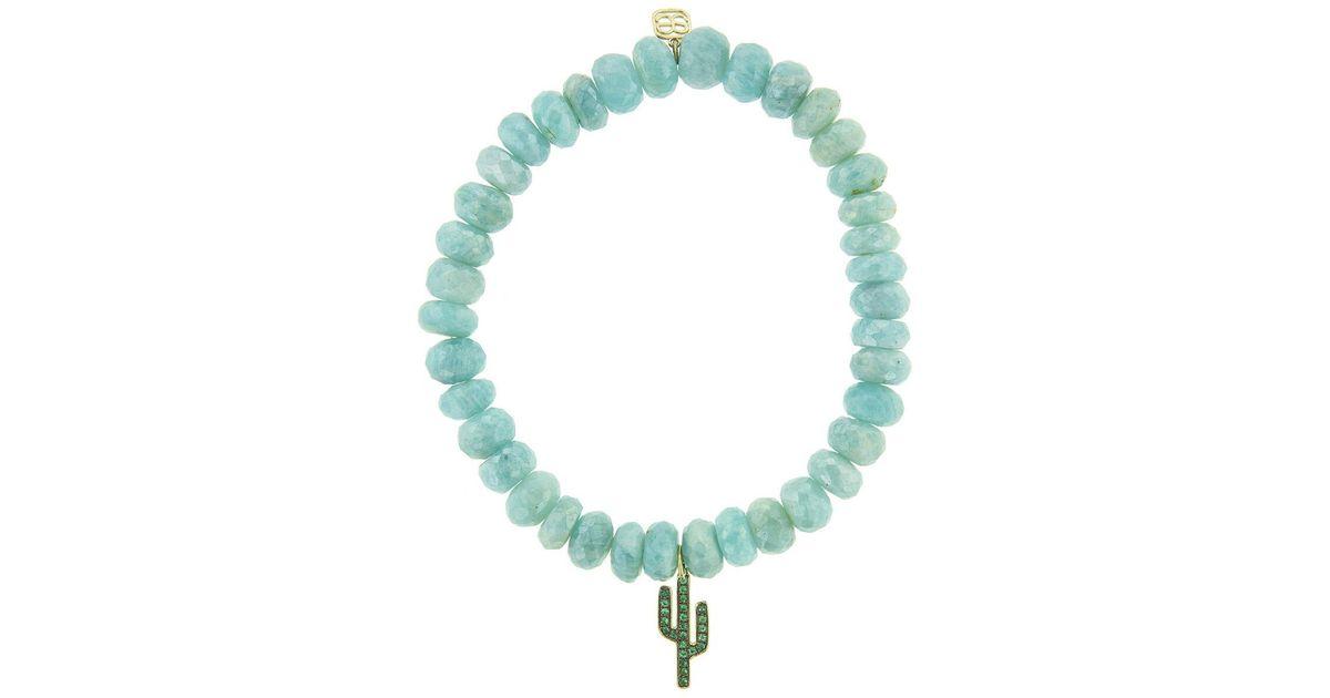 Sydney Evan Larimar Bead & 14k Cactus Charm Bracelet zuDJH