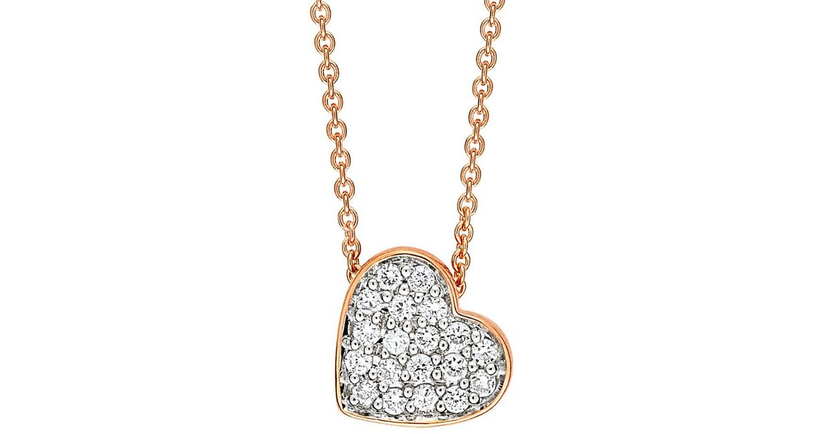 Lyst ginette ny tiny diamond heart necklace mozeypictures Gallery
