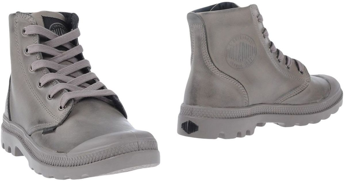Brilliant Palladium Pampa Grey Leather Hi Lace Up Ankle Boots In Gray  Lyst