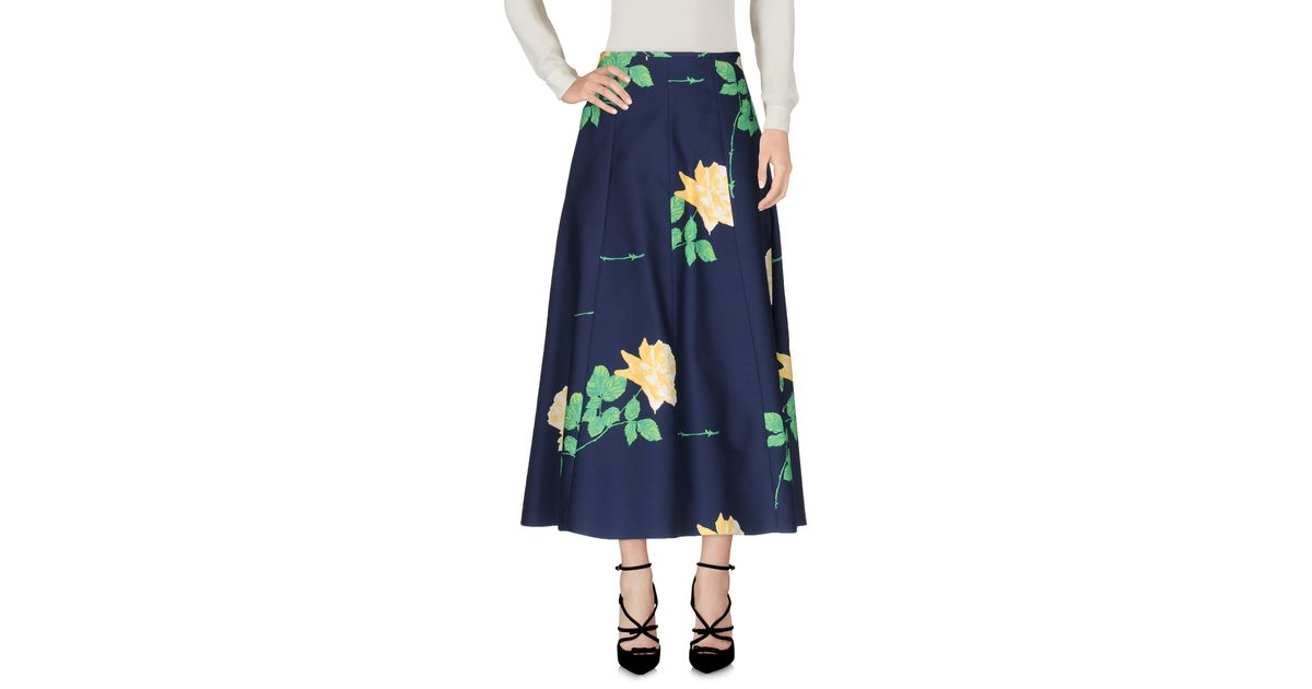 Lyst michael kors 3 4 length skirt in blue for 20 34 35 dress shirts