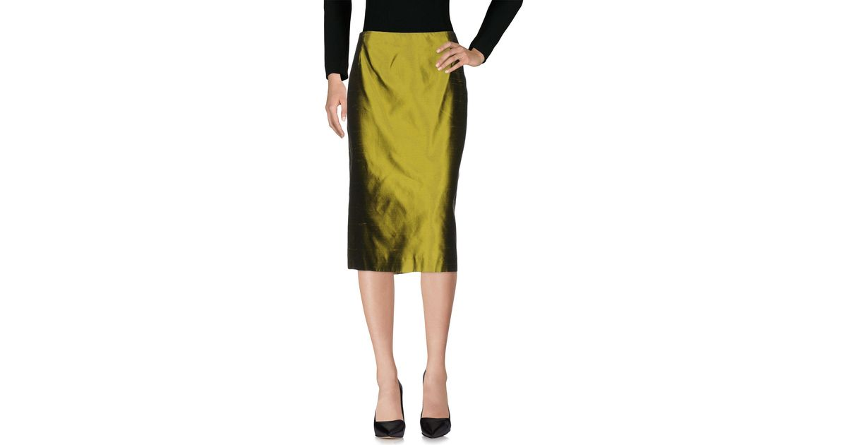 Clips 3 4 length skirt in green lyst for 20 34 35 dress shirts