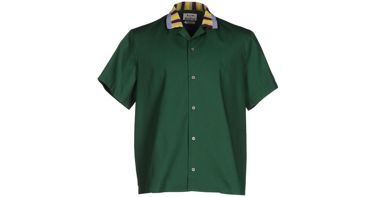 Acne shirt in green for men lyst Emerald green mens dress shirt
