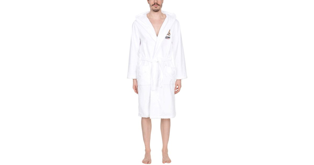 Moschino Towelling Dressing Gown in White for Men - Lyst 6d5af360b