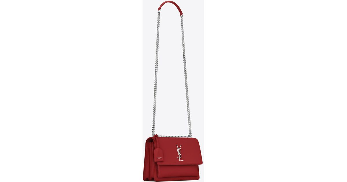 bec4ea6fdbd2 Lyst - Saint Laurent Sunset Medium In Smooth Leather in Red - Save 3%
