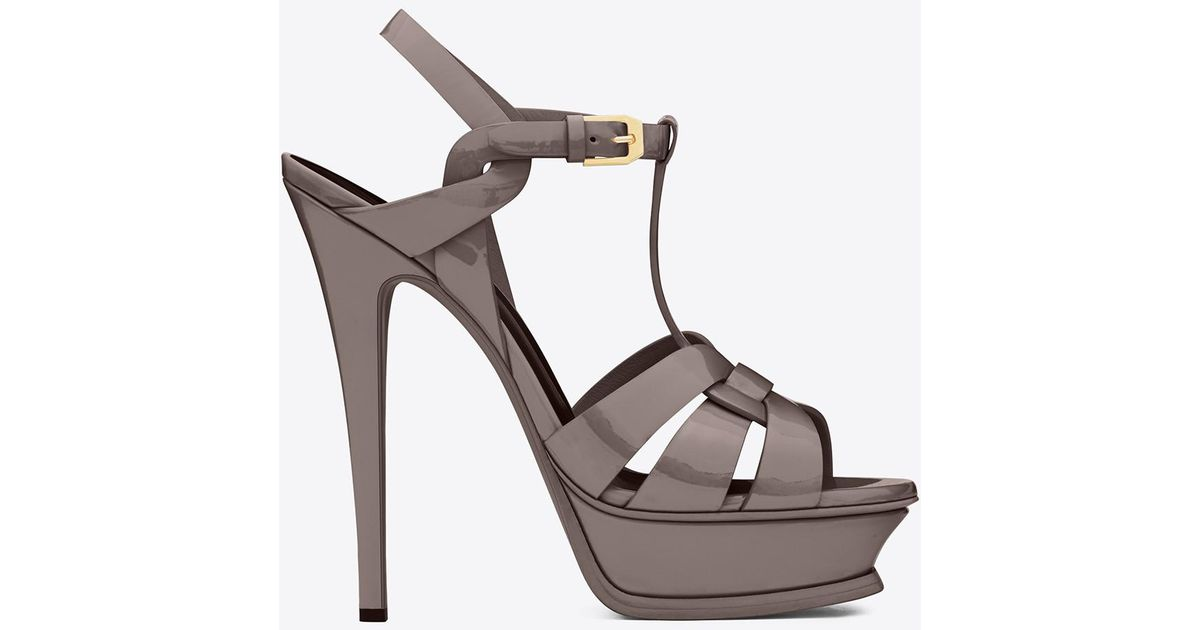 29e0f5d3cd54 Saint Laurent Tribute Sandals In Patent Leather in Gray - Lyst