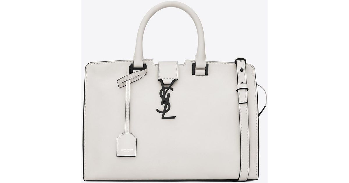 96b90810ca95 Saint Laurent Small Cabas Ysl Bag In Dove White And Black Leather in White  - Lyst