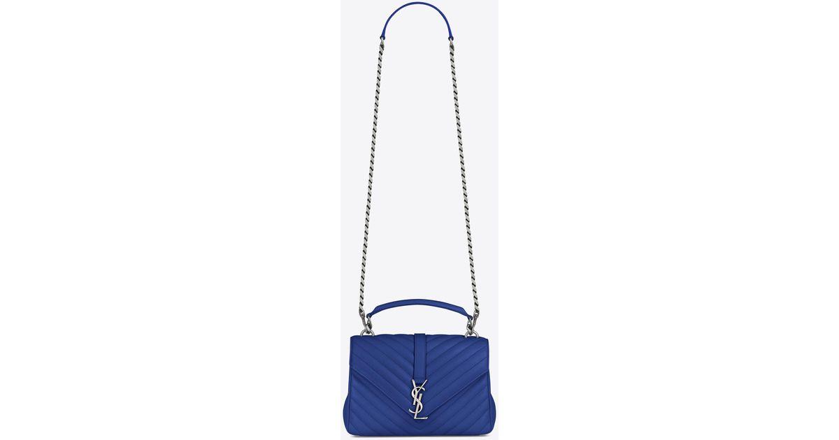 4d9164978c4 Saint Laurent Medium College Bag In Royal Blue Matelassé Leather in Blue -  Lyst
