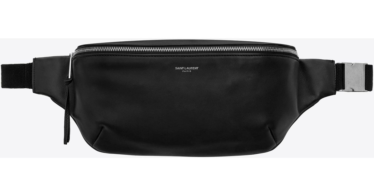c05cb2b49f Saint Laurent Classic Belt Bag In Soft Black Leather in Black for Men - Lyst
