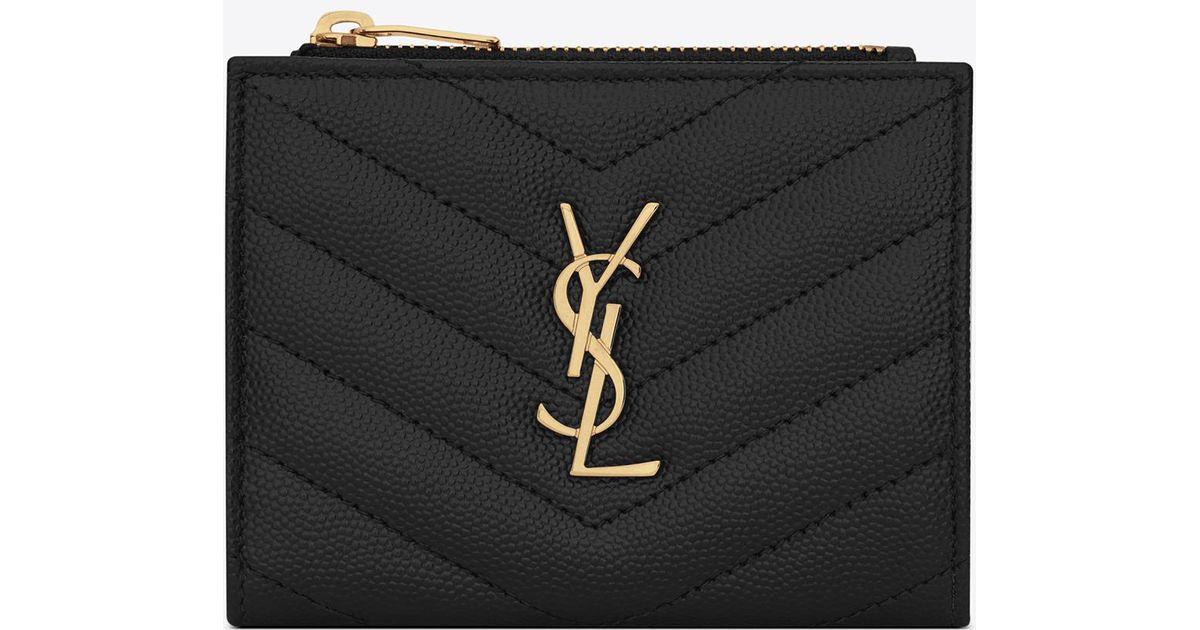 08cc86d5c21 Saint Laurent Monogram Zipped Card Case In Grain De Poudre Embossed Leather  in Black - Lyst