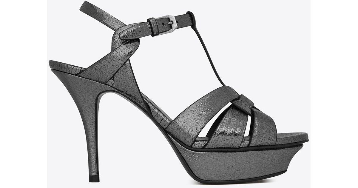 Tribute Metallic Cracked-leather Platform Sandals - Gunmetal Saint Laurent d9RJywpiau