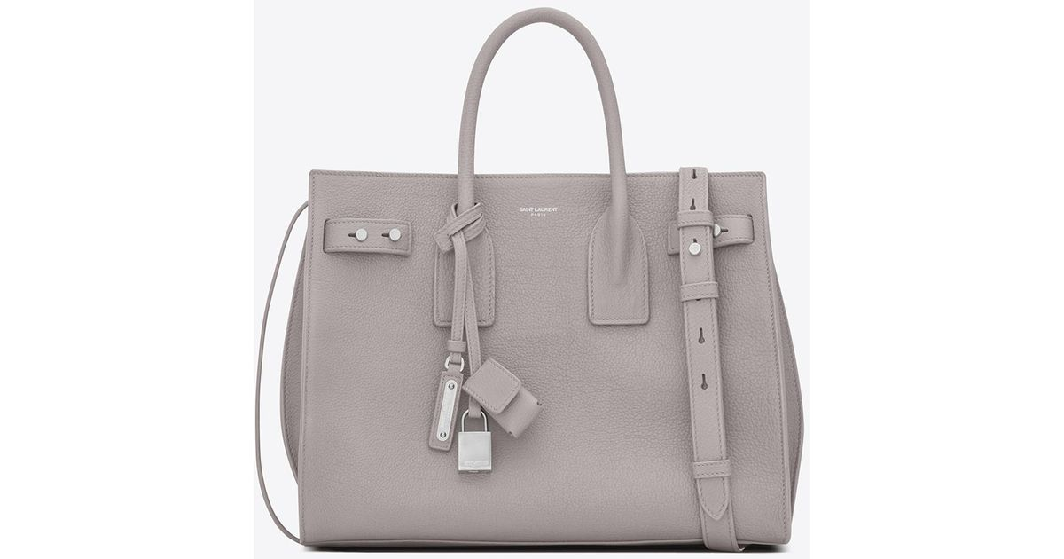 f5a754be9a3 Saint Laurent Small Sac De Jour Souple Bag In Mouse-gray Grained Leather in  Gray - Lyst