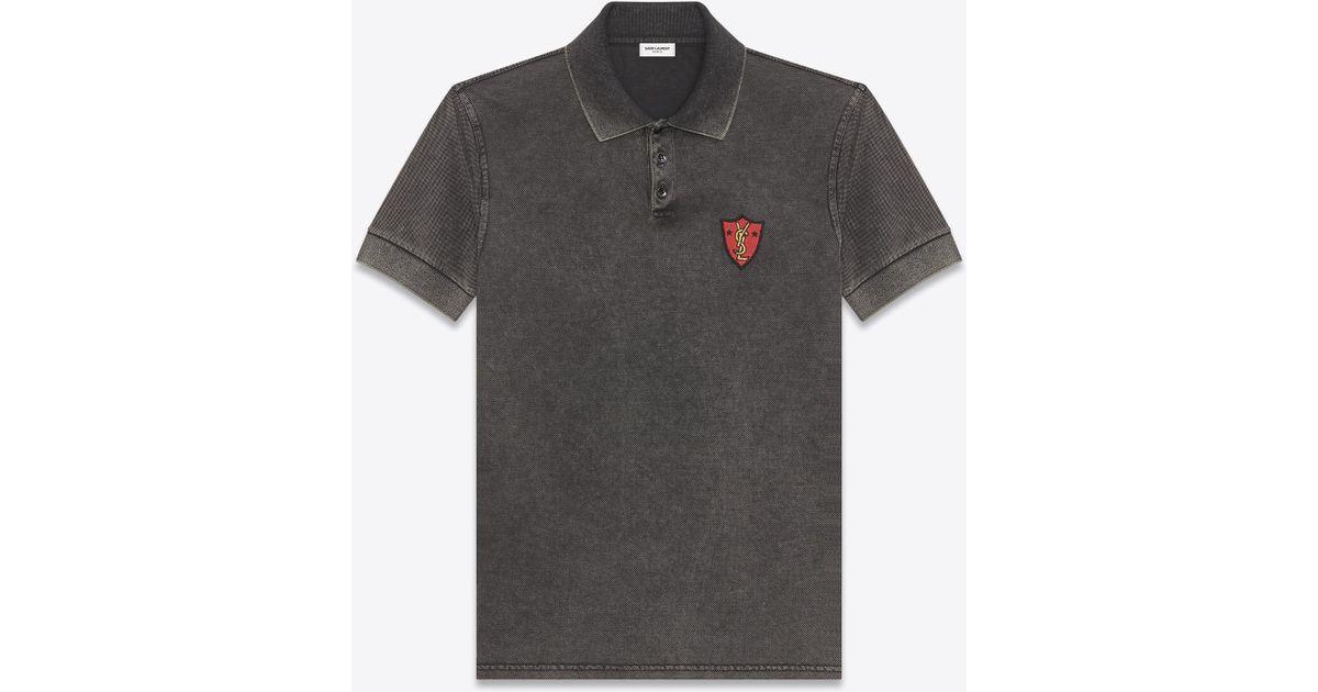 6df2e0d5 Saint Laurent Ysl Shield Patch Polo Shirt In Washed Black Piqué Cotton in  Black for Men - Lyst