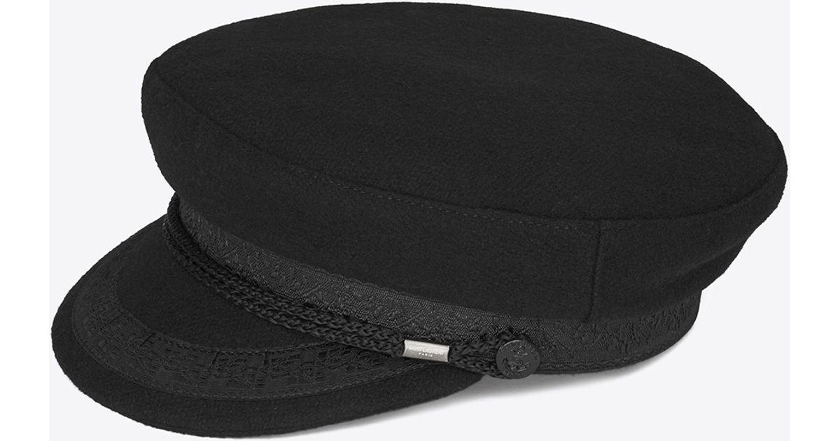 be67e3761b6 Lyst - Saint Laurent Wool Sailor Hat in Black