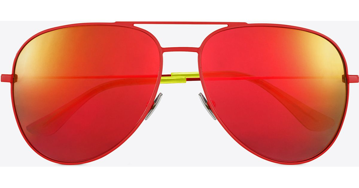 f07a608939 Saint Laurent - Classic Sl 11 Surf Aviator Sunglasses In Shiny Red And  Yellow Steel With Red Mirrored Lenses - Lyst