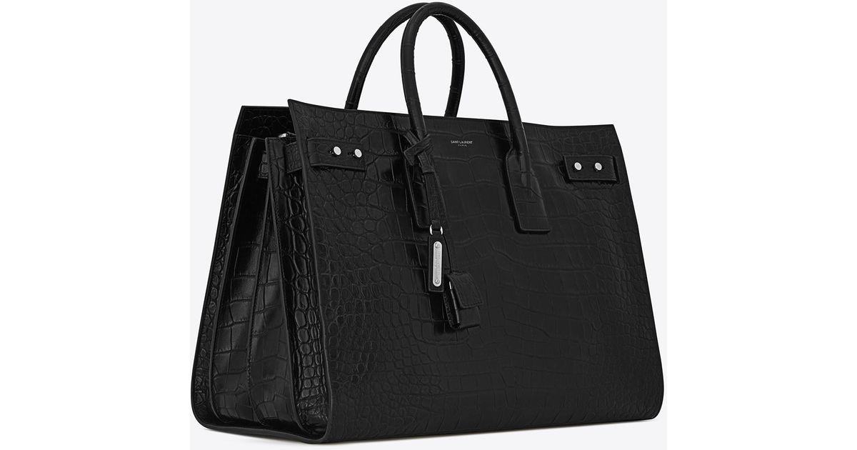 cd9728d8651c Lyst - Saint Laurent Sac De Jour Large In Crocodile Embossed Leather in  Black for Men
