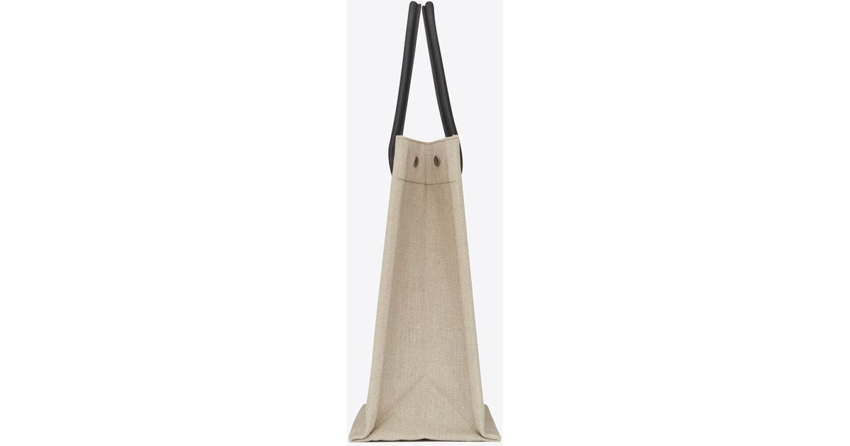 b3fb7a65bb3 Lyst - Saint Laurent Noe Rive Gauche Tote Bag In Linen Canvas in White for  Men