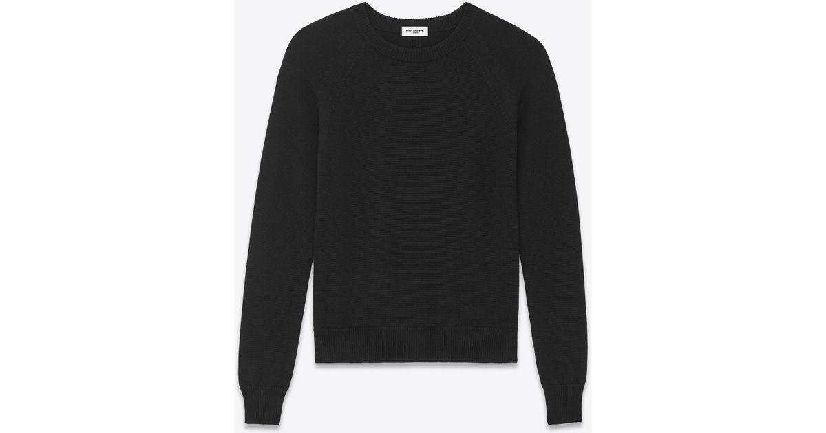 0ea3d88cca9d95 Saint Laurent Crewneck Sweater In Black Merino Wool in Black for Men - Lyst