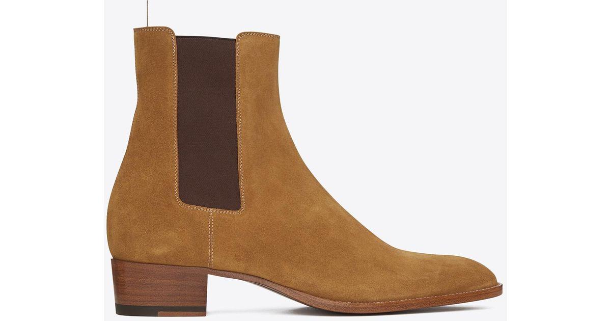 Saint Laurent Tan Suede Wyatt Chelsea Boots Jeu Site En Ligne Officiel 7l4zfDa