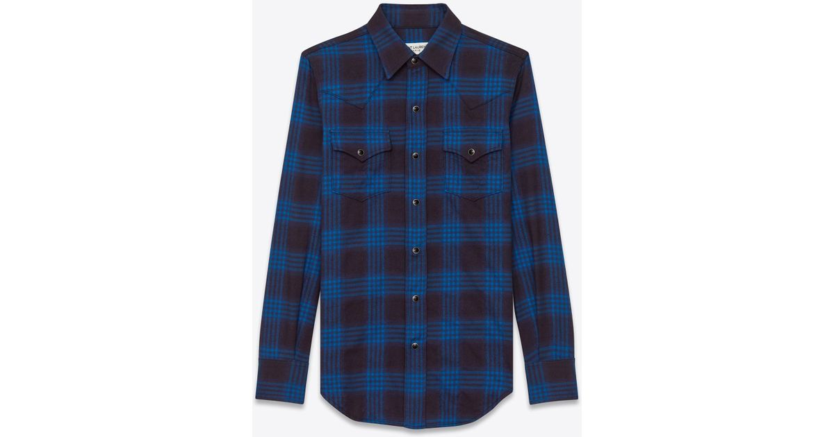 Lyst saint laurent western shirt in navy blue and ink for Navy blue plaid shirt